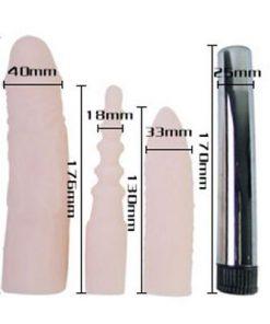 Dụng cụ massage 3 đầu silicon cao cấp rung kích âm kích thước