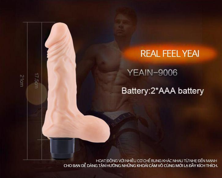 Kích thước dương vật giả silicon cao cấp Real Feel YEAI siêu mềm cho nữ