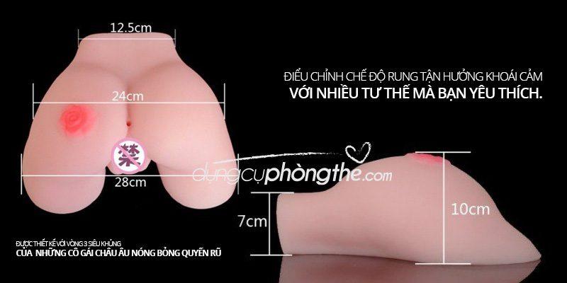 Kích thước mông âm đạo giả silicon bông hồng Doggy