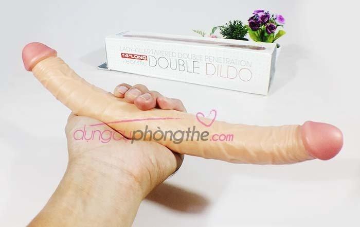 Hình chụp thực tế dương vật giả Double Dildo 2 đầu silicon